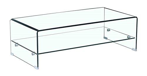 Meubletmoi - Tavolino in Vetro temperato - con ripiano Rettangolare in Vetro - Design Soggiorno Moderno - Ice
