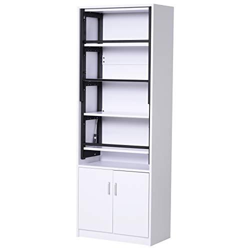 HOMCOM Bücherregal mit Schrank Regal mit Klapptisch 2-in-1 Standregal 5 Ebenen MDF 69 x 35 x 189 cm