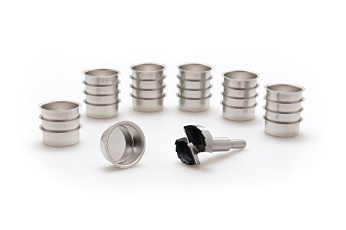 A.J. Wwe - Metallwaren GmbH Teelicht Tülle 40 mm und EIN Forstnerbohrer verzahnt 1 5/8'' (41,5 mm), Modell:24 Stck Weißblech