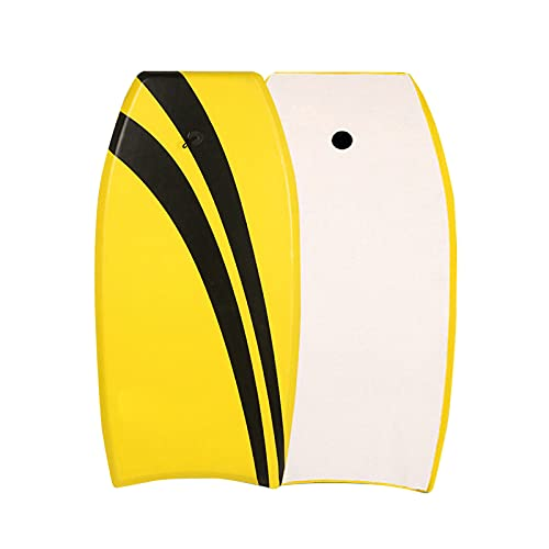 MSHENUED Bodyboard XPE 33/37 Pulgadas, Súper Ligero Bodyboarding con núcleo EPS y Cubierta XPE, Correa de Pulsera Premium, para mar, Playa, río, Piscina, Surf, Amarillo