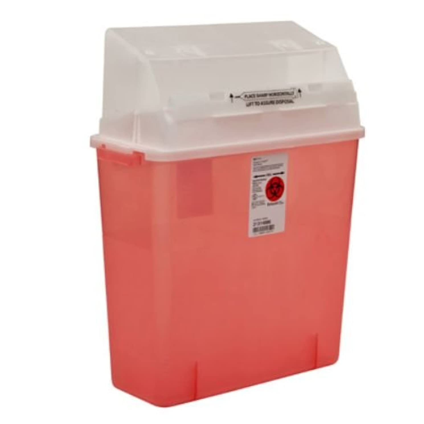 Covidien 31314886 Sharps-A-Gator Safety in Room Sharps Container with Counterbalance Lid, 3 gal Capacity, Transparent Red (Pack of 12)