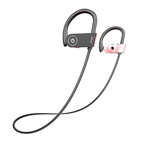 Otium Bluetooth Headphones Pink Headphones Wireless Earbuds for Women Girls, Stereo Bass in-Ear IPX7 Waterproof Running Sports Headphones