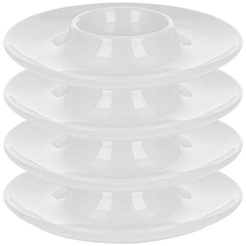 com-four® 4x Eierbecher aus Keramik - Eierhalter mit Ablage für Löffel und Eierschale - Eierteller (04 Stück - weiß mit Ablage)