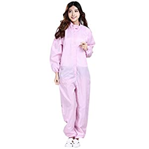 Surrui Protective Coverall with Hood Dust Safety Suit for Men Women Pink L