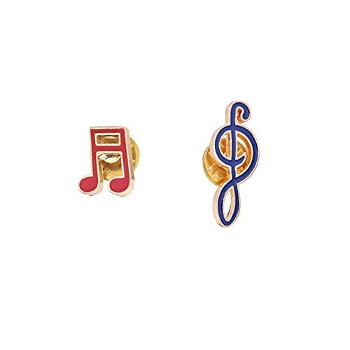 Music Clef Symbol Enamel Pins Fashion Cartoon Treble Bass Brooches Shirt Denim Jackets Lapel Pin Badge Gifts for Friend Musician-2Pcs Set,China
