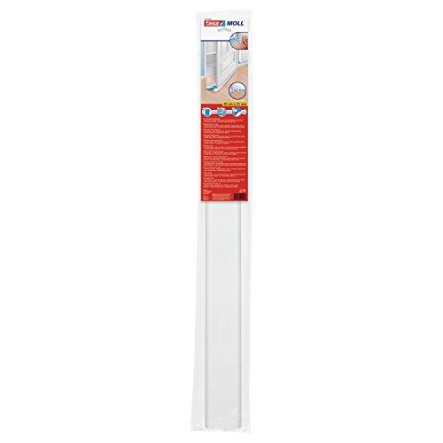 tesamoll Zugluftstopper für glatte Böden - Zuschneidbare Türdichtung zum Schutz vor Zugluft - mit Schallschutz - 95 cm x 25 mm, kürzbar - Weiß