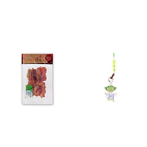 [2点セット] 薫製達人 豚バラベーコン燻製(60g)[飛騨山椒付き]・ガラスのさるぼぼ 手作りキーホルダー 【緑】 /健康運・平穏・病気を寄付けない・健康祈願//