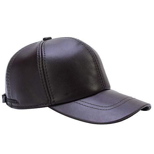 DID Men's Genuine Soft Lambskin Leather Baseball Hats Driving Adjustable Caps Brown