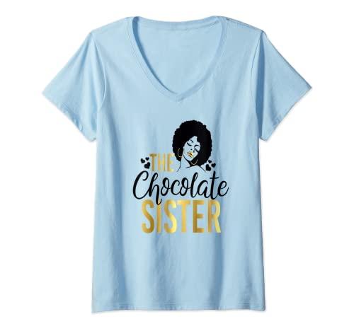 Donna Ragazza Nera Magia Il Cioccolato Sorella Corrispondenza Famiglia Af Maglietta con Collo a V