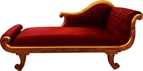 Casa Padrino Barock Chaiselongue Modell XXL Bordeaux Rot/Gold- Antik Stil - Recamiere Wohnzimmer Möbel