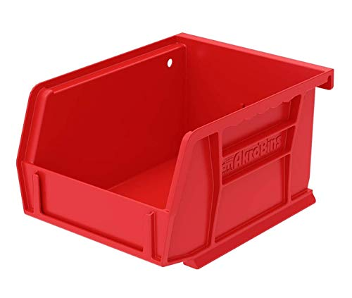 Akro-Mils 30210 AkroBins Plastic Storage Bin Hanging Stacking Containers, (5-Inch x 4-Inch x 3-Inch), Red, (24-Pack)