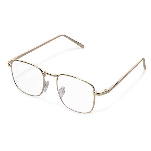 Navaris Retro Brille ohne Sehstärke - Damen Herren Vintage Modebrille - Anti Blaulicht Computer Nerdbrille ohne Stärke - mit Metallbügeln