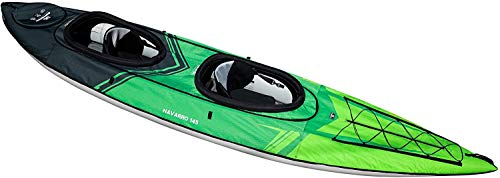 AQUAGLIDE Navarro 145 Convertible Inflatable Kayak - 1-3 Person Touring Kayak with Drop Stitch Floor, Green