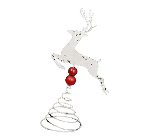 The Bridge Collection Distressed White Metal Deer Tree Topper