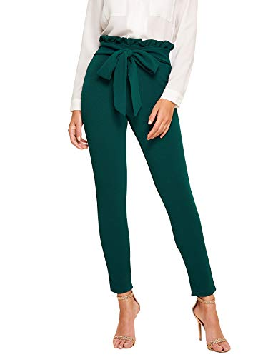 SOLY HUX Women's Elegant High Waist Tied Front Paperbag Pants Skinny Trousers Green XS