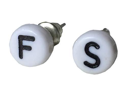 WUNSCH Buchstaben Ohrstecker Stecker Miniblings Wunsch ABC Initialen weiß S+?, 2. Buchstabe:Z