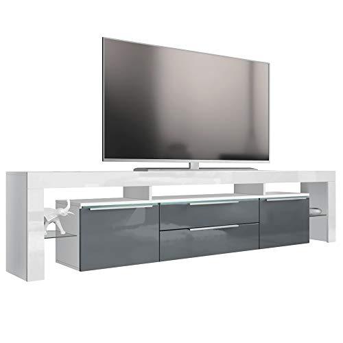 Vladon TV Board Lowboard Lima Nova V2, Korpus in Weiß matt/Front in Grau Hochglanz