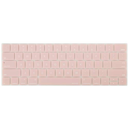 MOSISO Keyboard Cover Compatible with MacBook Pro with Touch Bar 13 and 15 Inch 2019 2018 2017 2016 (Model: A2159, A1989, A1990, A1706, A1707), Silicone Skin Protector, Rose Quartz