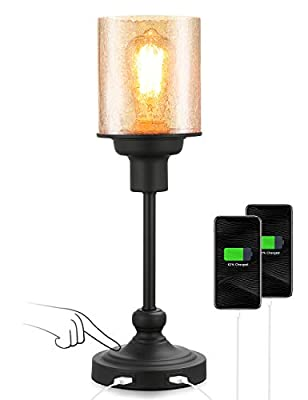 Touch Control Industrial Table Desk Bedside Lamp with Glass Shade, Acaxin Black Bedside nightstand Light with 2 USB Charging Ports, 3 Way Dimmable Small Simple Bed Lamp for Bedroom, Bulb Included