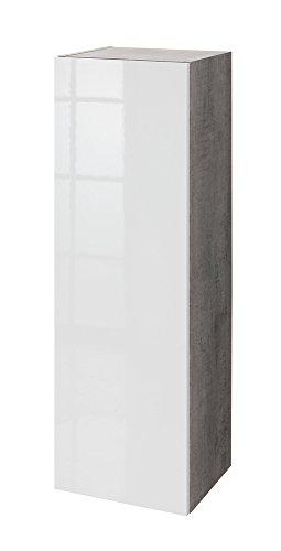 Composad Pensile colonna soggiorno color cemento con anta laccata bianca lucida