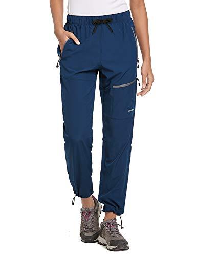 BALEAF Women's Hiking Cargo Pants Outdoor Lightweight Capris Water Resistant UPF 50 Zipper Pockets Navy Blue Size M