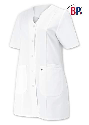 BP 1640-485-21-40n Damen-Kasack, 1/2 Hülse, V-Ausschnitt mit Druckknopfband, 215,00 g/m² Stoffmischung, weiß ,40n