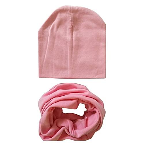 Invierno Primavera bebé Sombrero Conjunto de Bufanda algodón bebé niño niña Sombrero Gorra con Estampado de Estrellas niños Sombreros recién Nacidos Gorro Beanie niños Gorras-Pink