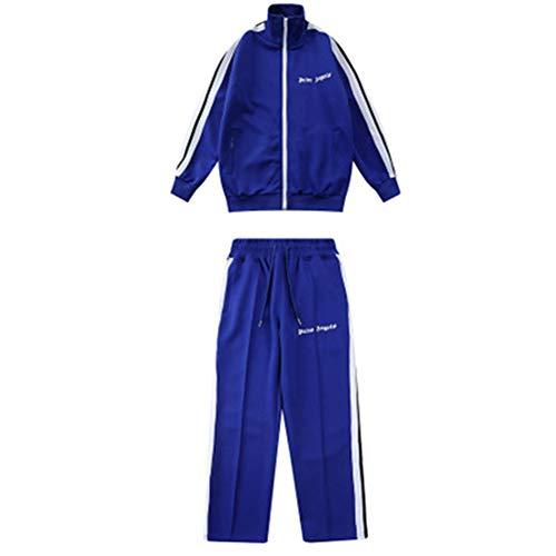 """Keren, Tuta sportiva unisex con righe a contrasto con cerniera e pantaloni e scritta """"PA Angel"""", taglie comode, colore blu"""