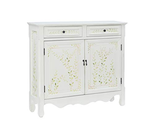 Powell White Hand Painted 2 Drawer, 2-Door Console,