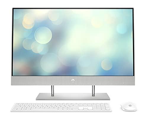HP 27-dp1000ng (27 Zoll / Full HD) All-in-One PC (Intel Core i3-1125G4, 8GB DDR4 RAM, 512GB SSD, 1TB HDD, Intel Grafik, Windows 10, QWERTZ) Silber
