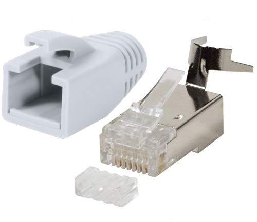 odedo 10 Sets Crimpstecker RJ45 weiß CAT7, CAT6A für Verlegekabel bis 8mm 10GBit Gigabit Ethernet LAN Netzwerk Stecker Metall geschirmt Einfädelhilfe, auch CAT 8.1