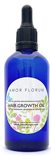 HAARWACHSTUM ÖL - RIZIN, ARGAN, MACADAMIA mit THYMIAN, ROSMARIN, LAVENDEL & ZEDERNHOLZ - 100 ml von AMOR FLORUM 100% Natürlich. Kein Parfüm Hinzugefügt. Natürliche Öle zur Förderung des Haarwuchses.
