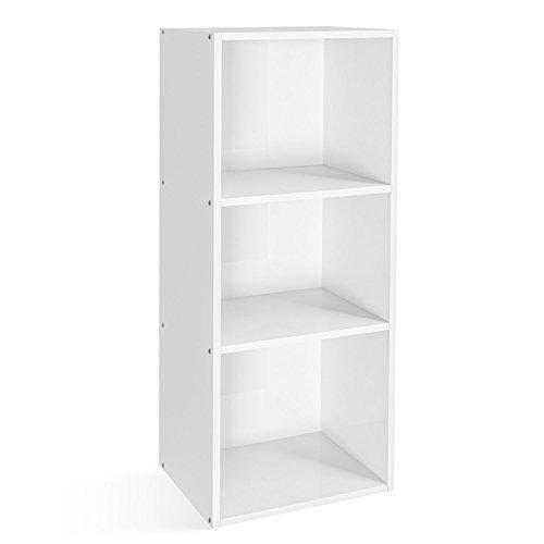 Homfa Libreria Mobile per Archiviazione con Mensola in Legno, Scaffale Cubo per Libri (Bianco, 79.5 × 23.5 × 30 cm)