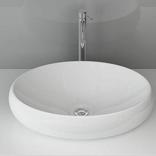 Aufsatzwaschbecken Oval Waschschale Waschtisch Waschbecken Keramik WS88 BxTxH: 60x41x15 cm