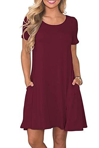 Bequemer Laden Damen Casual Sommer T Shirt Kleid Kurzarm Swing Kleider mit Taschen, M, Weinrot
