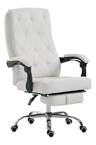 CLP Bürostuhl Gear mit Kunstlederbezug, Chefsessel mit Fußstütze, max. belastbar bis 136 kg, höhenverstellbar, ergonomisch, Farbe:weiß