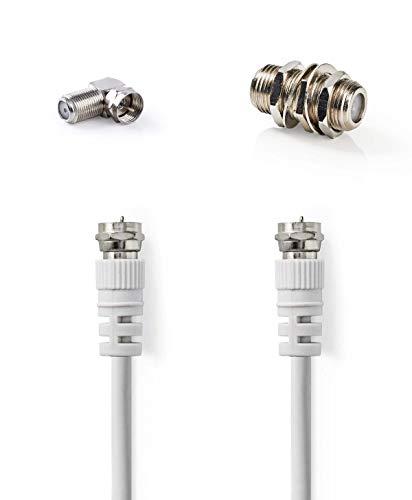 KnnX 28173 | Satelliten- und Antennenkabel | F-Stecker auf F-Stecker | Länge: 2,00M | weiß | Packung mit 1 Kabel Plus 90-Grad-Adaptern und einem Koppler