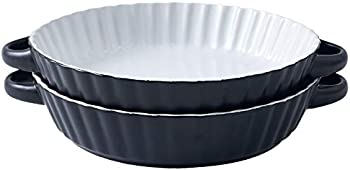 2-Pack Bruntmor 9.5 Inch Round Pie Plate Baking Dish with Ribbed Edges