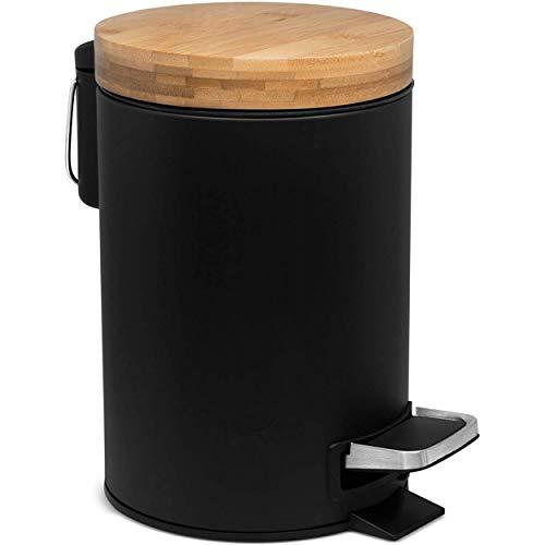 Papelera Metálica Negra, Papelera para Oficina, baño con Tapa, Cubo y Pedal....