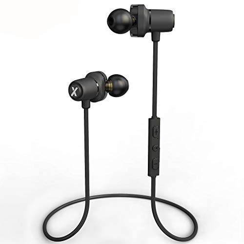 Litexim Wireless Bluetooth Earbuds Sport Bluetooth Magnetic Earphones in-Ear Headphones with Mic Dual Driver Earbuds IPX6 Sweatproof HD Stereo AptX Headset for Gym Running Workout (Black-White)