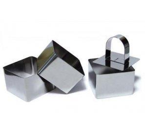Lot De 3 Carrés de présentation Inox avec 1 poussoir 8 cm