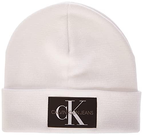 Calvin Klein Jeans Herren Monogram Beanie-Mtze, Bright White, Einheitsgröße
