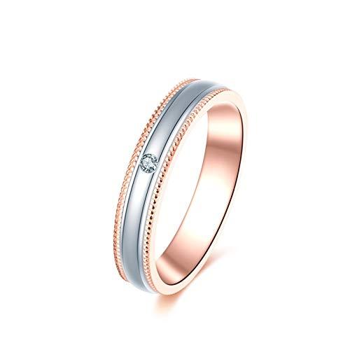 KnSam 18K Oro Blanco/ 18K Oro Rosa Anillo, Anillo de Confianza Único Diamante Perla Diseño, Diamante Blanco, Color Oro Rosa, Mujer - Talla 22