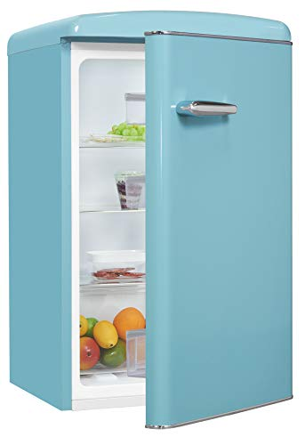 Exquisit Retrokühlschrank RKS120-V-H-160F taubenblau | Standgerät | 121 l Volumen | taubenblau