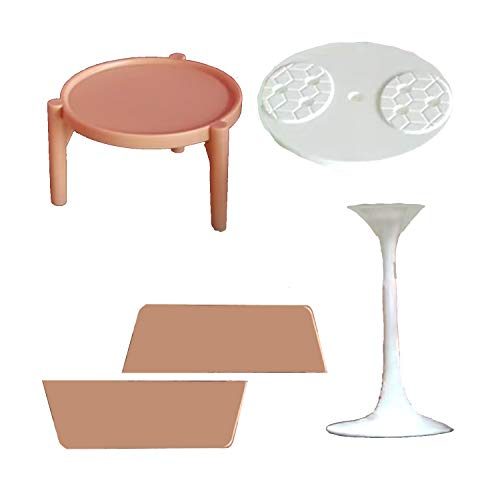 Barbie Doll 3-Story Dollhouse - Replacement Parts - One White Table, One Tan Table, Front Door Step and Back Step