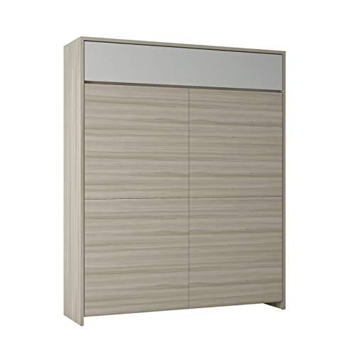 Maconi Night n'Day 566 Lit double escamotable en bois de 178 cm – Oreiller : aucun – Finition meuble : tout blanc vénitien – Matelas : comète – à ressorts traditionnels – Tête de lit : aucune