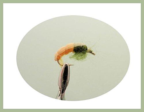 6Stück tschechische Nymphe, Bernstein & Olive Forelle von äschen Angeln Fliegen, Auswahl von Größen 10