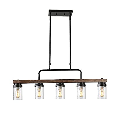 Anmytek Kitchen Island Pendant Lighting with Seeded Glass Shade Industrial Rustic Chandelier Retro Ceiling Light or Edison Vintage Hanging Light Fixture