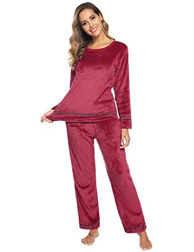 Aibrou Damen Winter Flanell Pyjama Set lang Fleece gefüttert, Einfarbige Zweiteiliger Schlafanzug Rundhals Langarm Shirt und Pyjamahose Rot XXL