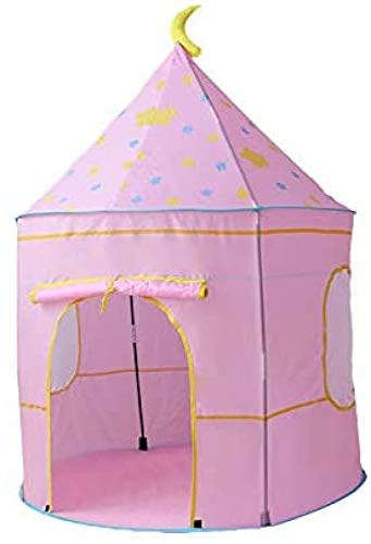 HGA Childrens Teepee Play Tent With Floor Mat, Easy Installation Yurt Style Moon Stars Pattern Kids Castle Play Tent For Indoor And Outdoor Games,Pink